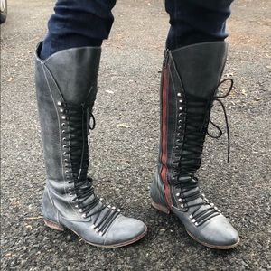 Steve Madden leather combat boots knee high